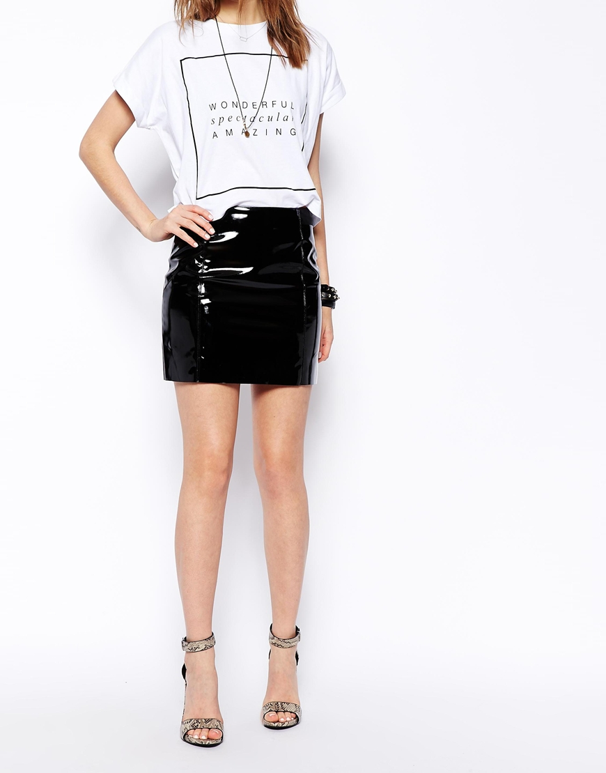 asos ultra mini skirt in patent pu in black lyst