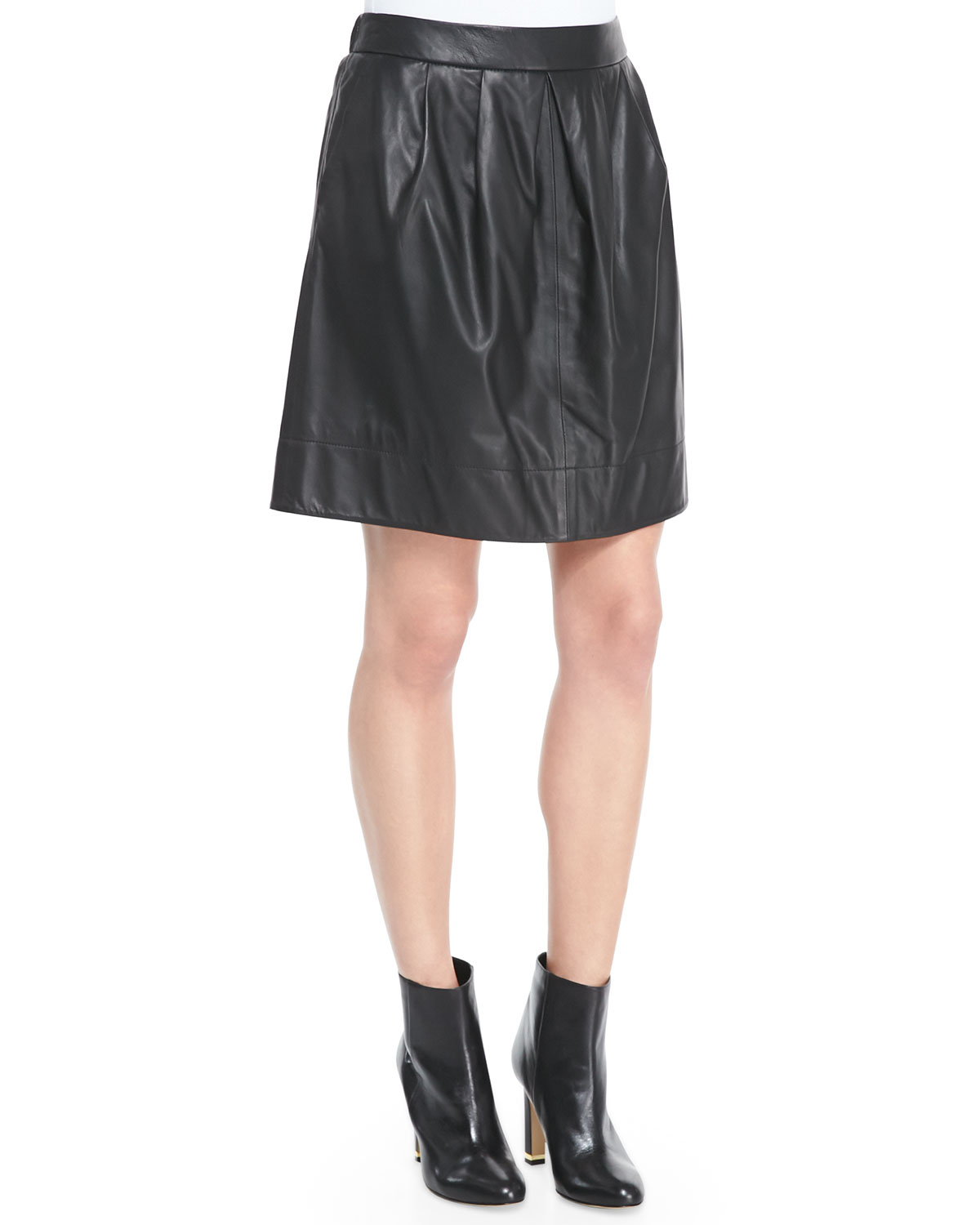 eileen fisher fisher project pleated leather skirt