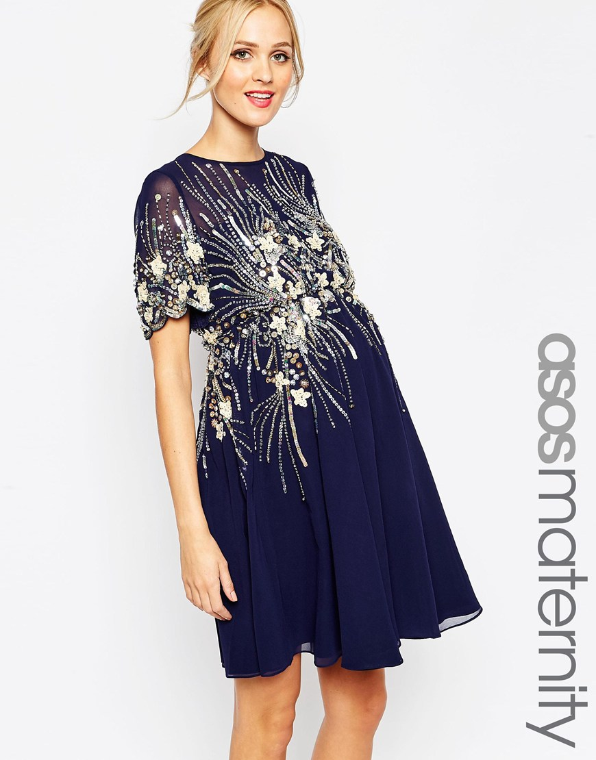 Asos Maternity Midi Skater Dress With Embellishment in Blue | Lyst