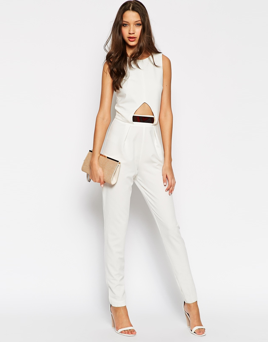 White And Gold Jumpsuit River Island