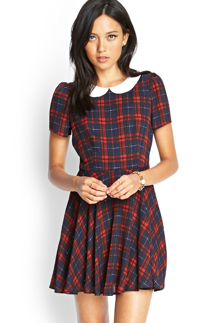 forever 21 plaid peter pan collar dress in blue navy red lyst. Black Bedroom Furniture Sets. Home Design Ideas