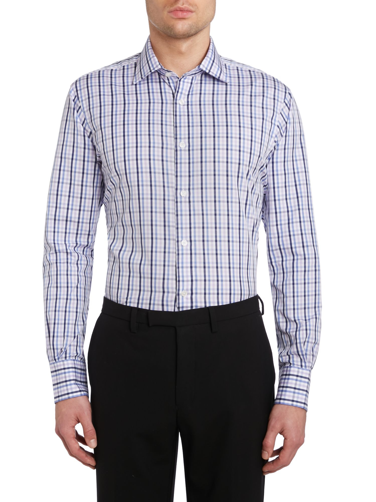 Tm Lewin Gingham Check Classic Fit Long Sleeve Shirt In