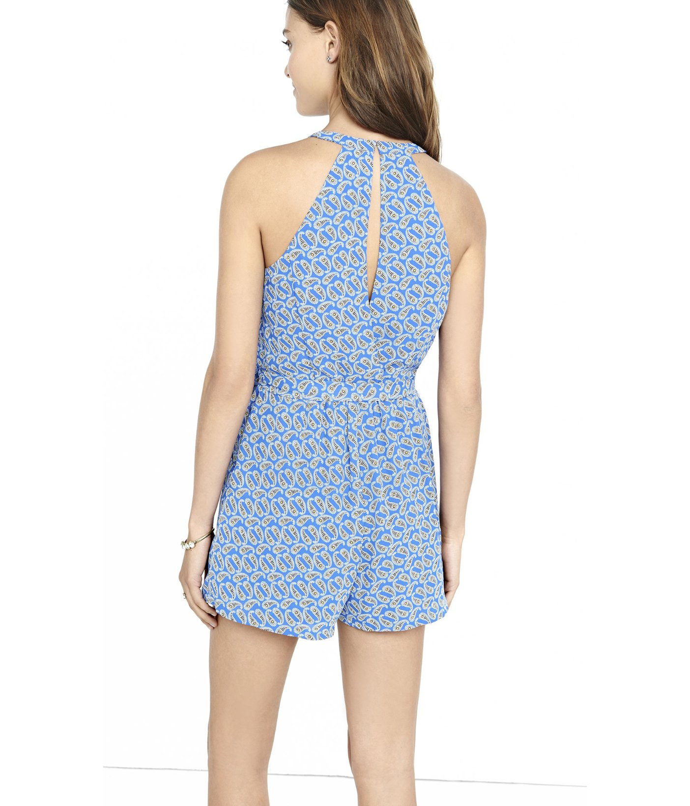 f104485a694 Lyst - Express Paisley Print Surplice Front Halter Romper in Blue