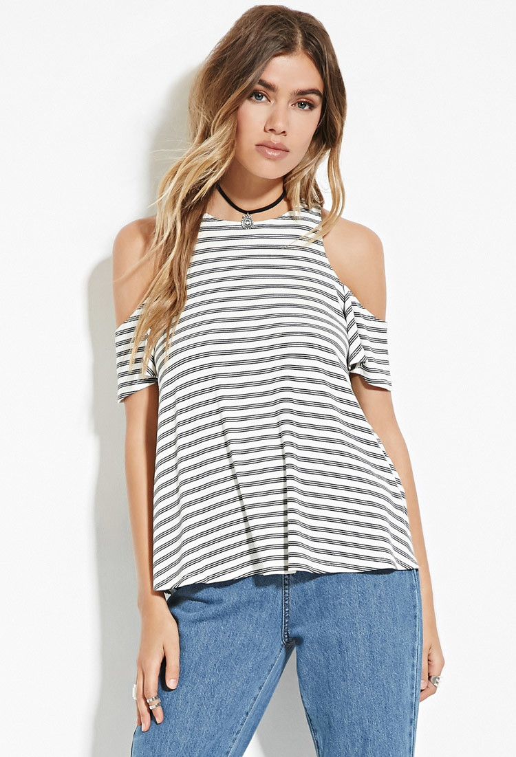 693fb31109c0c4 Lyst - Forever 21 Open-shoulder Striped Top You ve Been Added To The ...