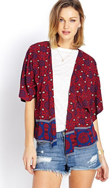 Forever 21 La Vie Boho Kimono in Red (BRICK/NAVY) | Lyst