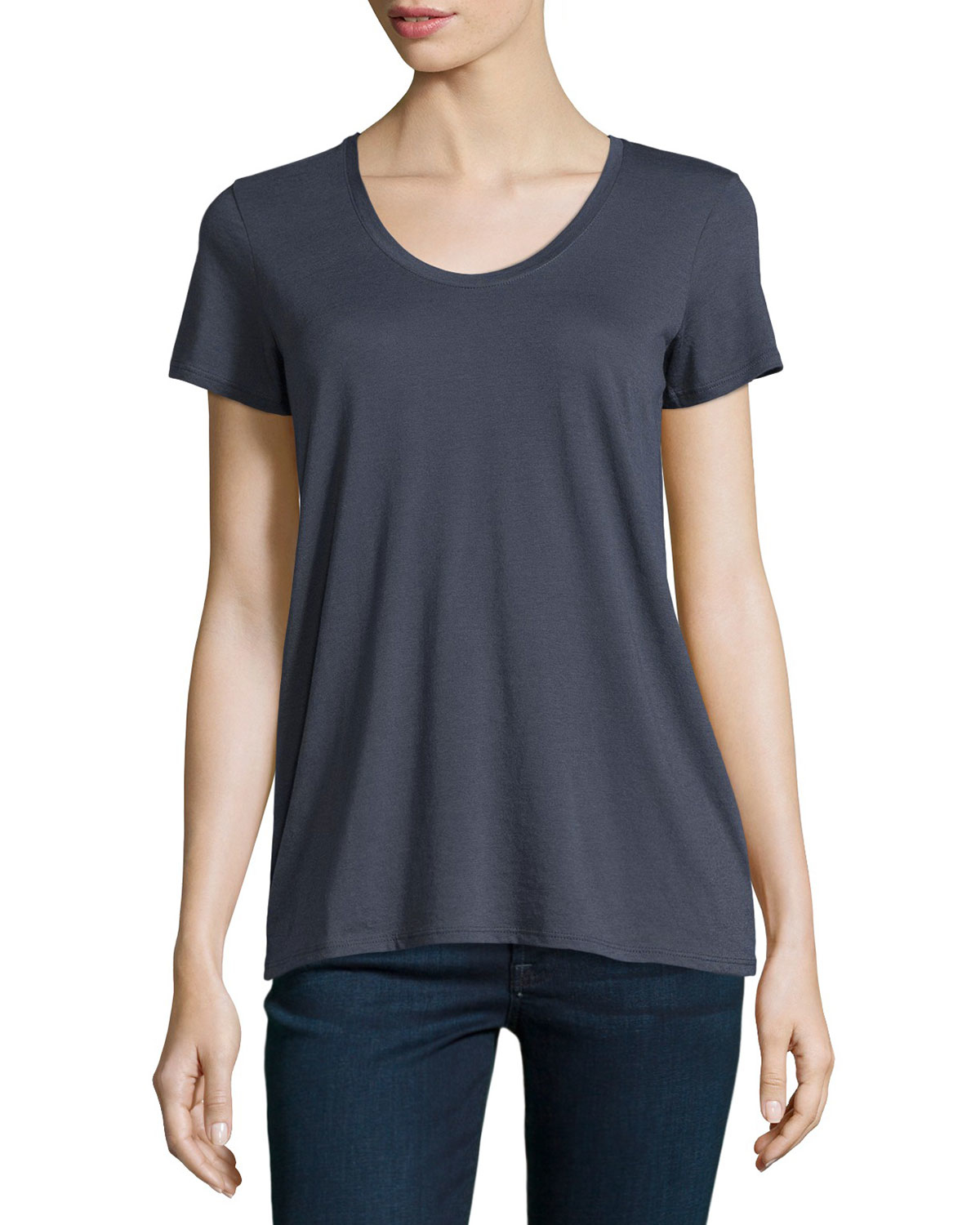 Vince scoop neck jersey tee in black lyst for Vince tee shirts sale