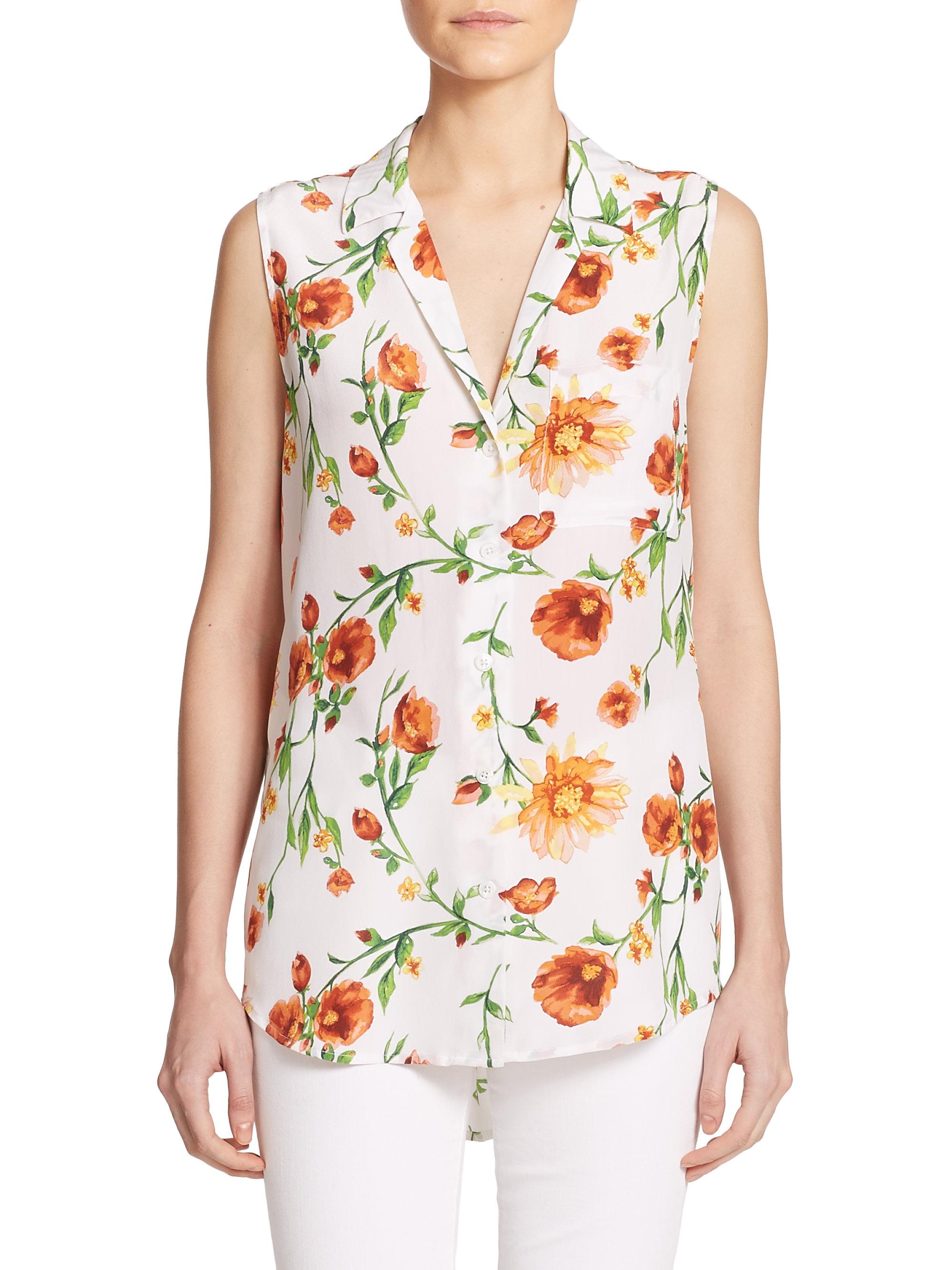 872b27da6aff6 Lyst - Equipment Keira Floral-print Silk Sleeveless Blouse