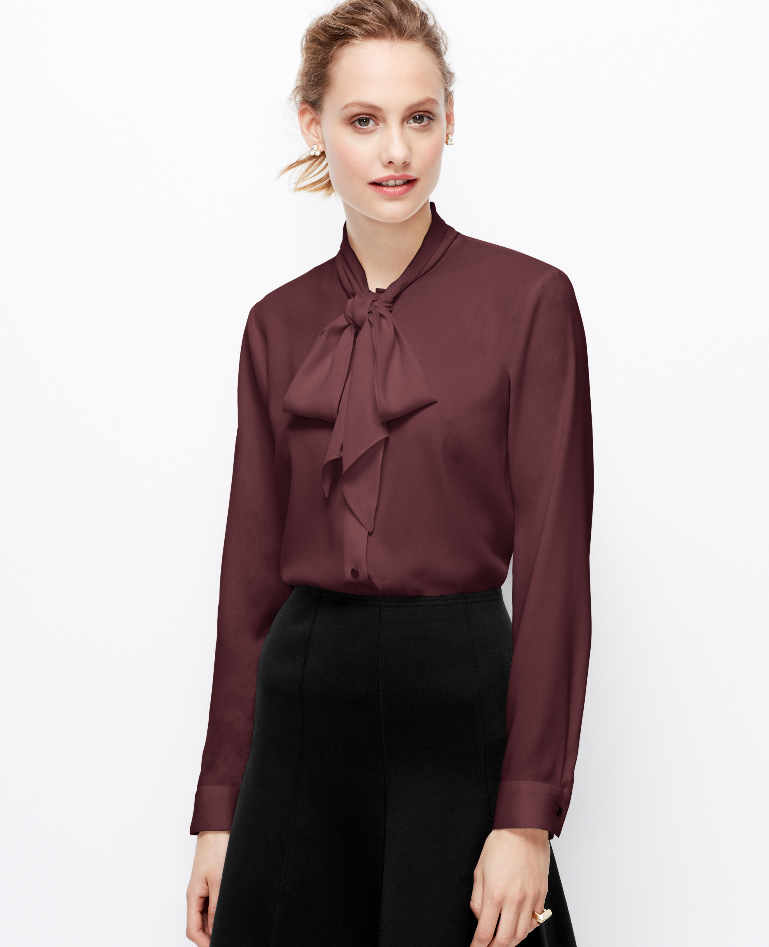 crepe tie neck blouse in lyst