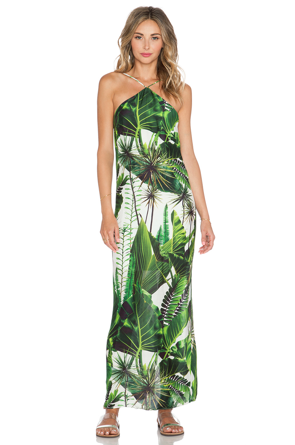 Osklen Green Leaves Maxi Dress In White Lyst