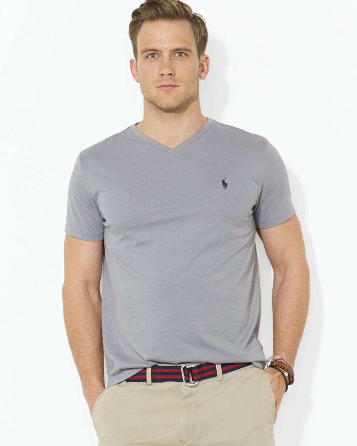polo ralph lauren short sleeve cotton jersey v neck tee in gray for men lyst. Black Bedroom Furniture Sets. Home Design Ideas