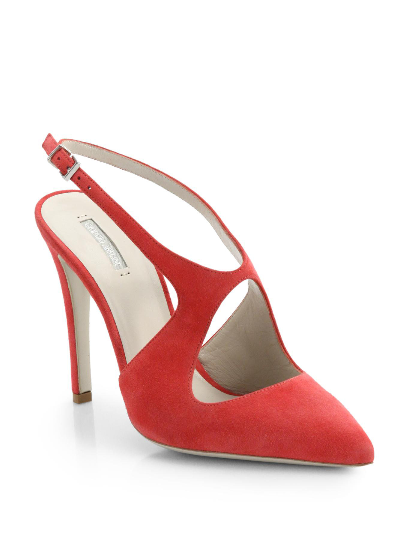 0ccbcec251fe Lyst - Giorgio Armani Suede Cutout Slingback Pumps in Pink