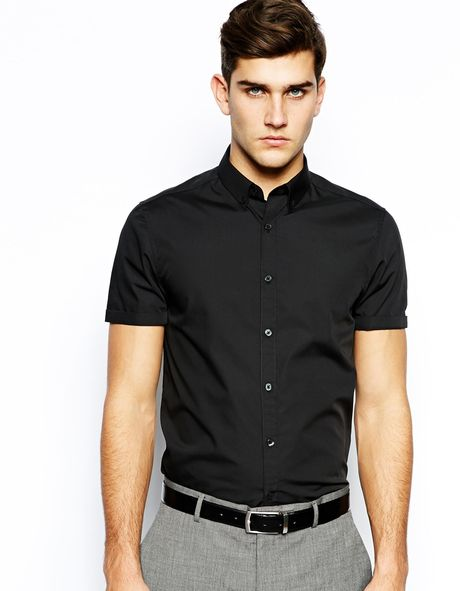Asos smart shirt in short sleeve with button down collar for Mens short sleeve button down casual shirts