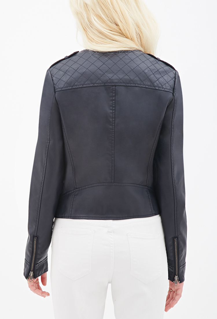 Forever 21 Collarless Faux Leather Biker Jacket In Blue Lyst