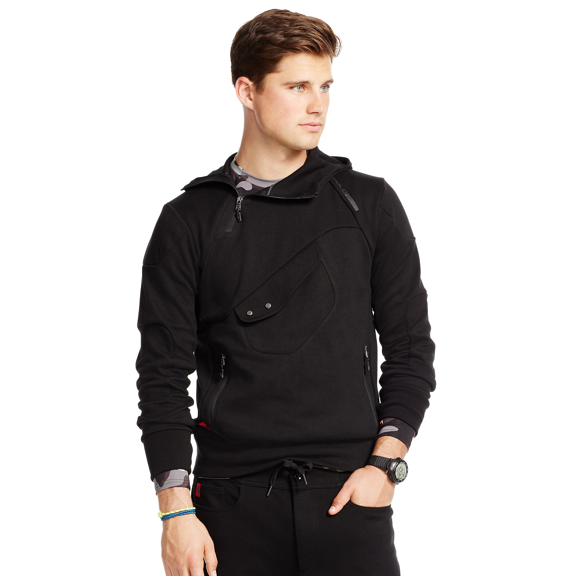 ralph lauren double knit tech hoodie in black for men lyst. Black Bedroom Furniture Sets. Home Design Ideas