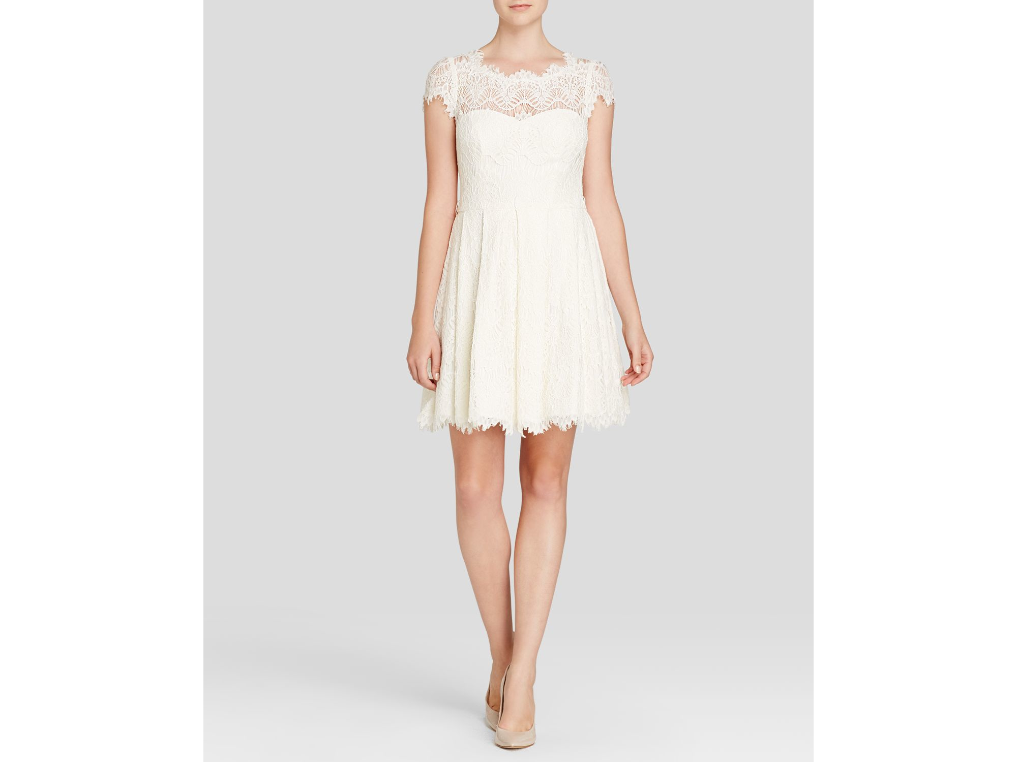 Aqua Dress Cap Sleeve Lace Fit And Flare In White Lyst