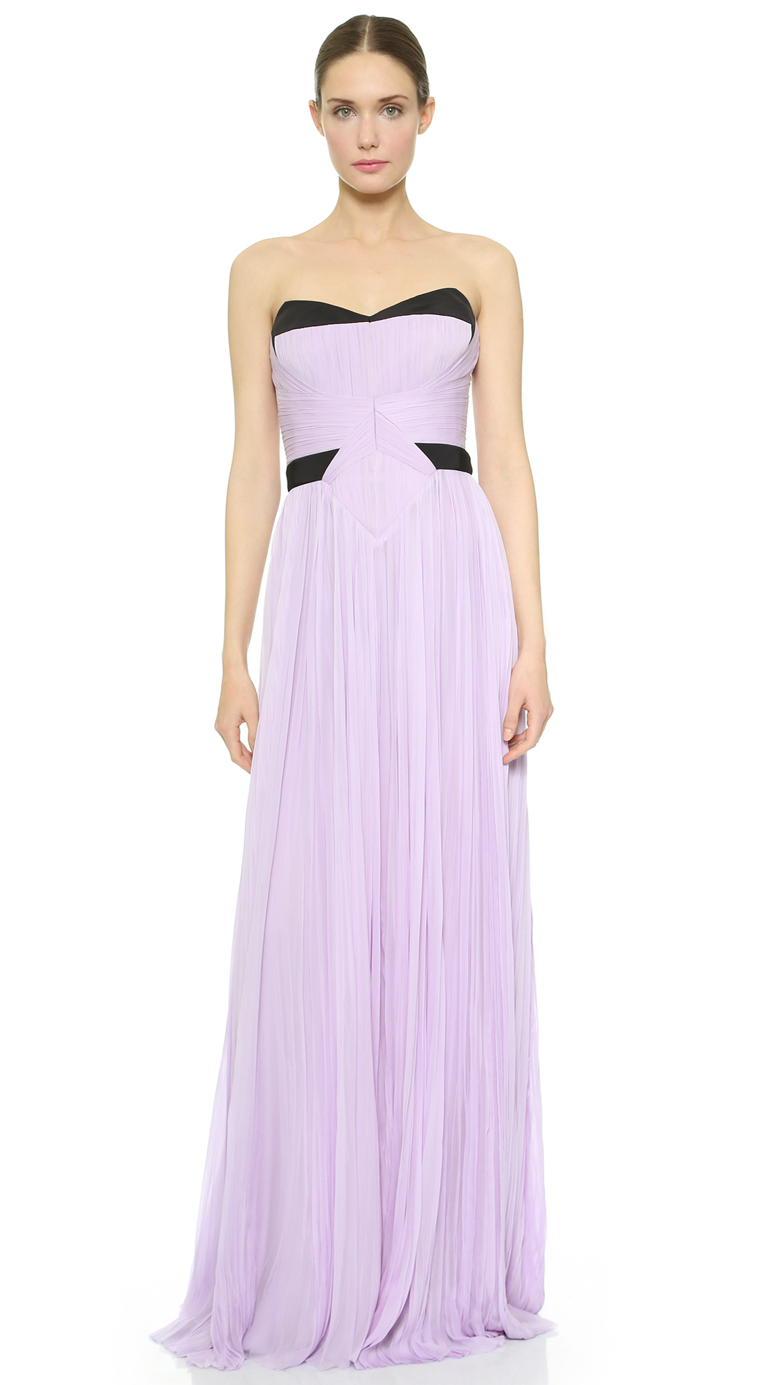 Lyst - J. Mendel Strapless Pleated Gown in Purple