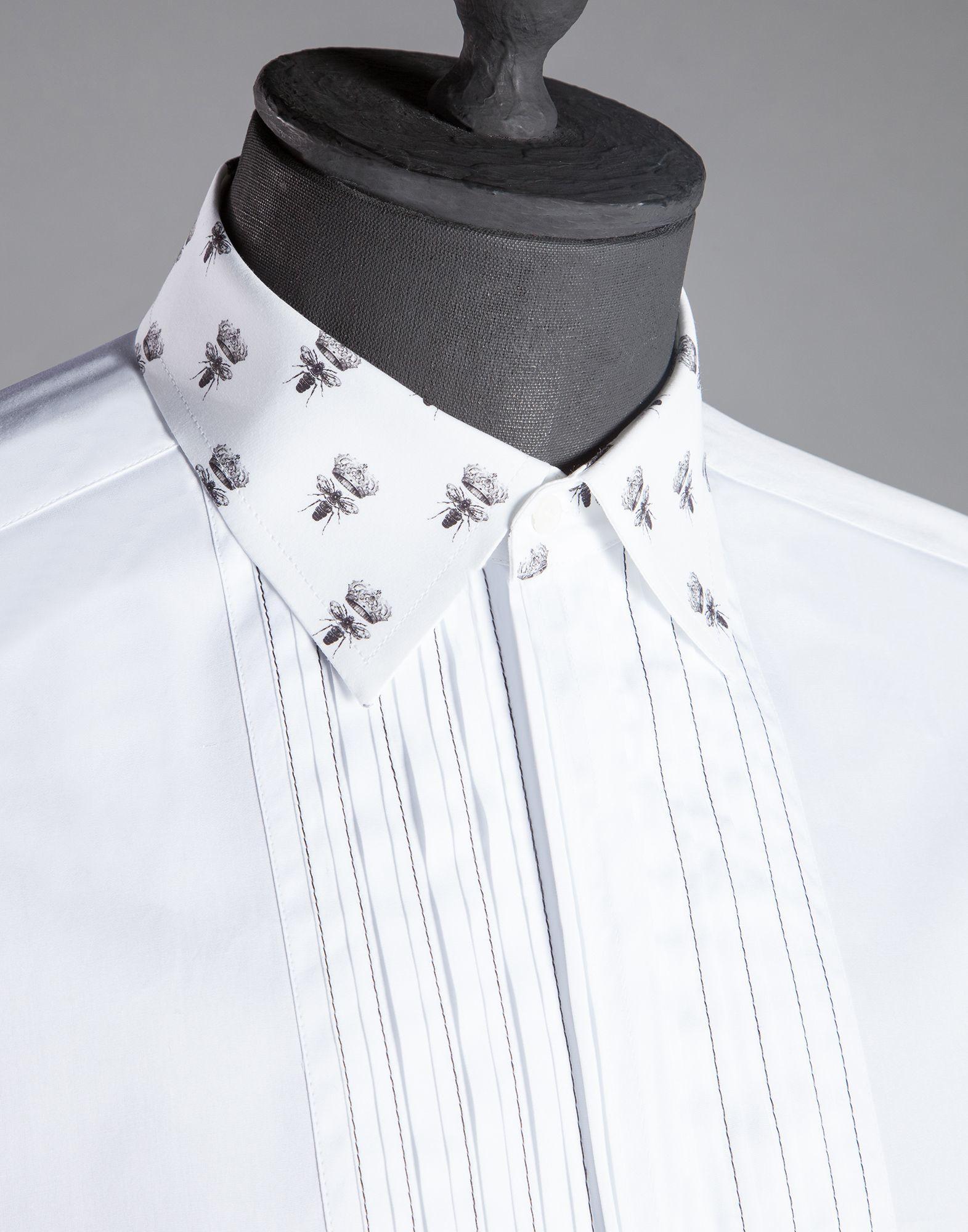 Dolce gabbana bee print collar gold fit shirt with bib for Small collar dress shirt
