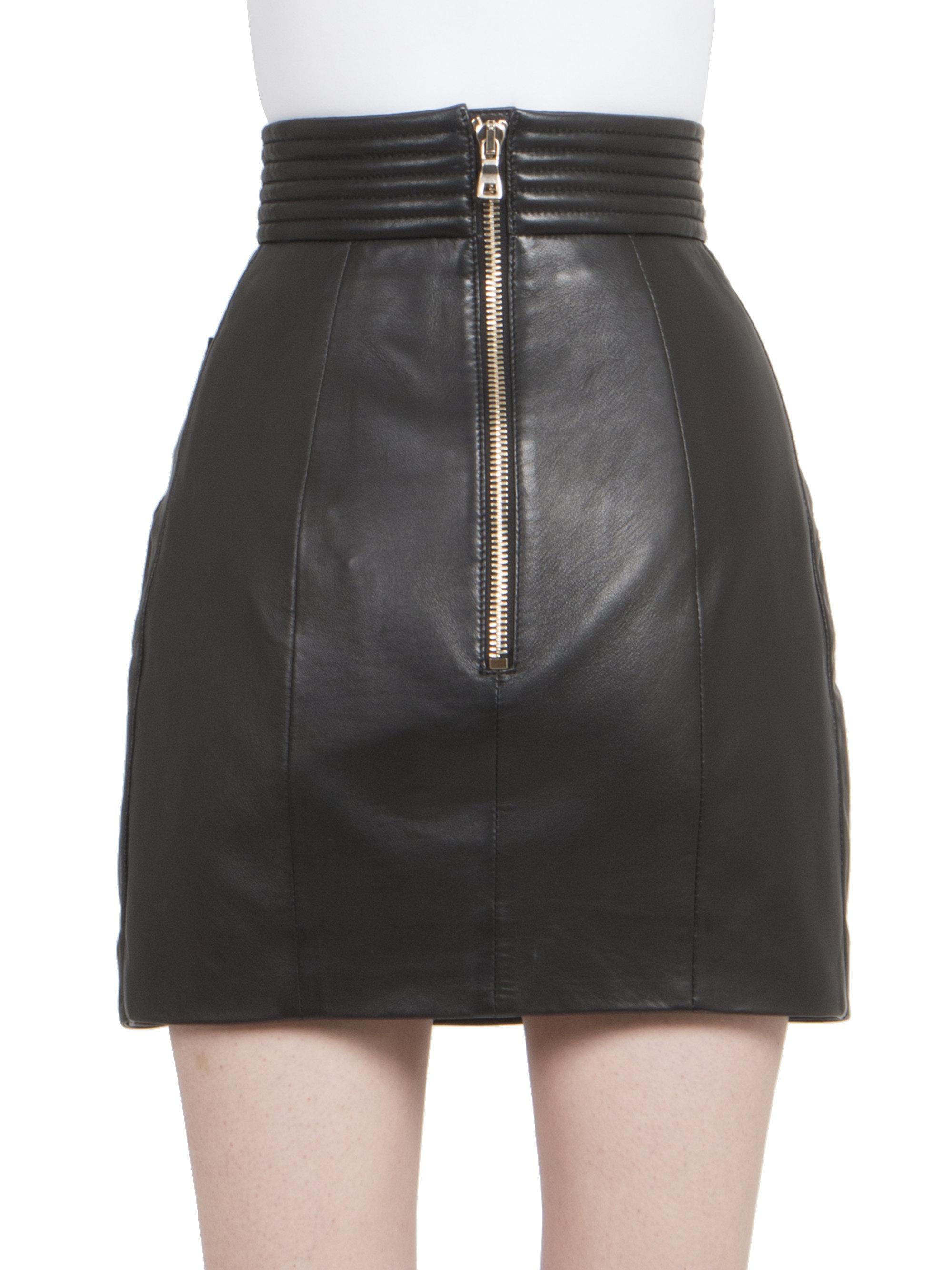 balmain draped leather mini skirt in black lyst