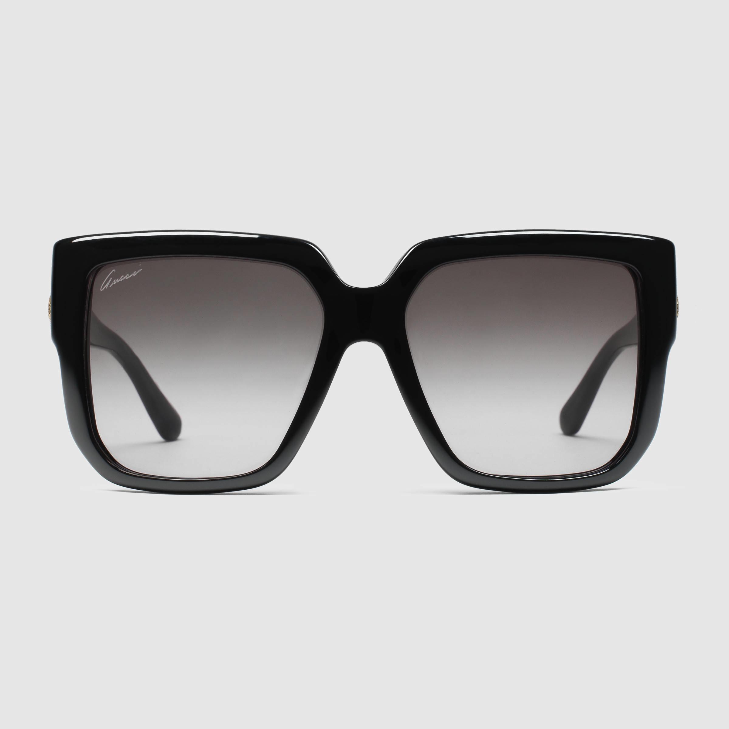 c6716e0b6afc7 Gucci Oversized Square-frame Sunglasses in Black - Lyst