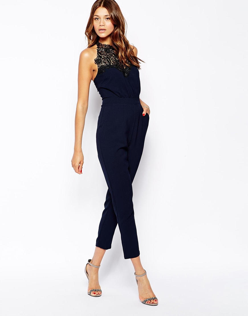 Lipsy Michelle Keegan For Lace Halterneck Jumpsuit in Blue | Lyst