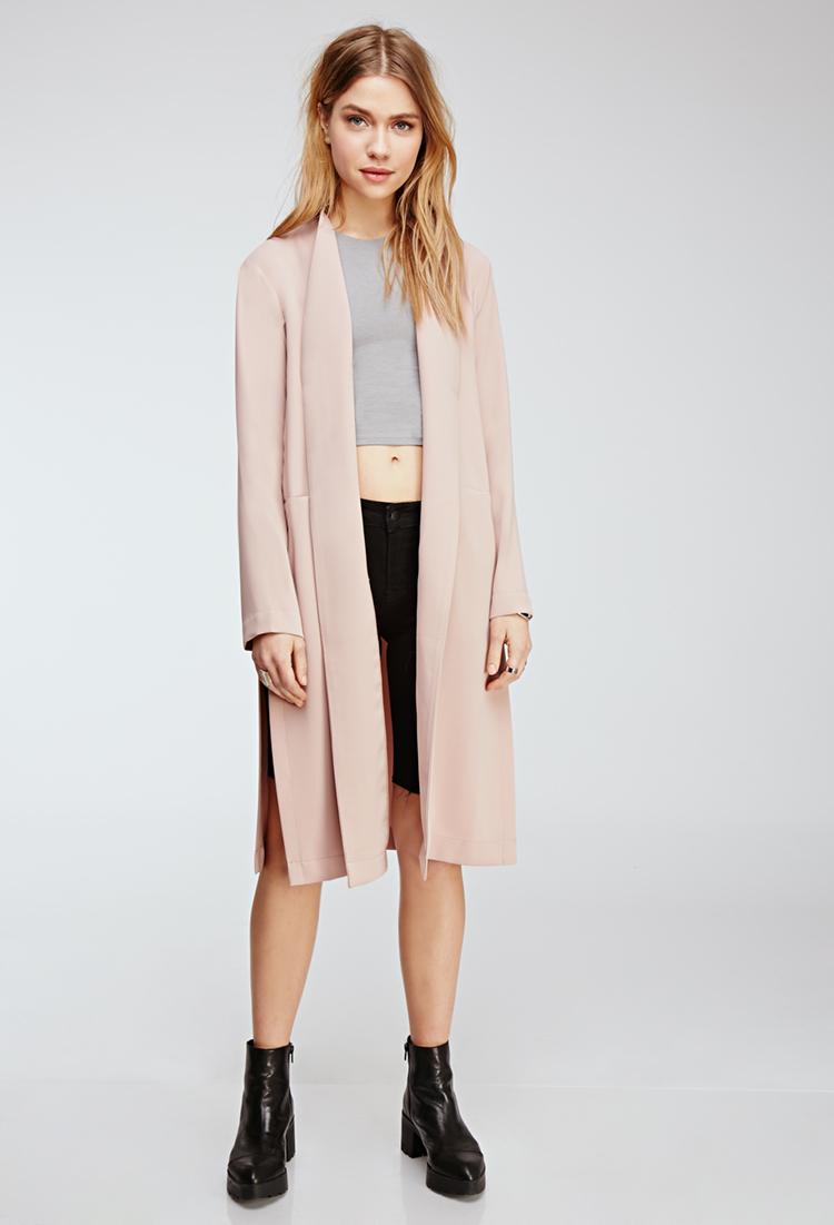 c98c16688de Lyst - Forever 21 Collarless Duster Coat in Pink