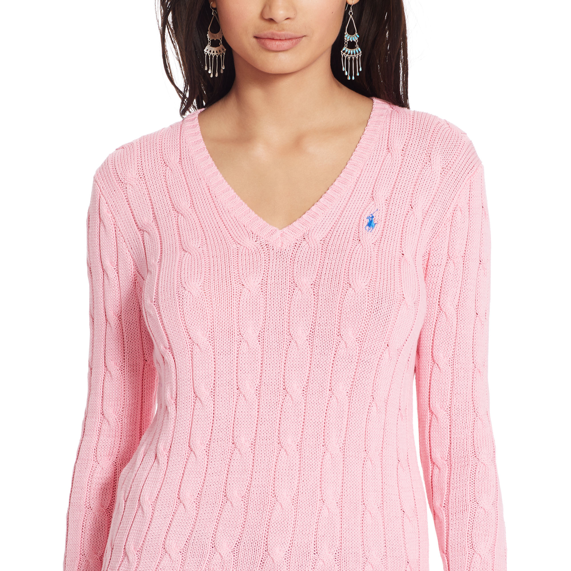 8312e93cb318a Polo Ralph Lauren Cable-knit V-neck Sweater in Pink - Lyst
