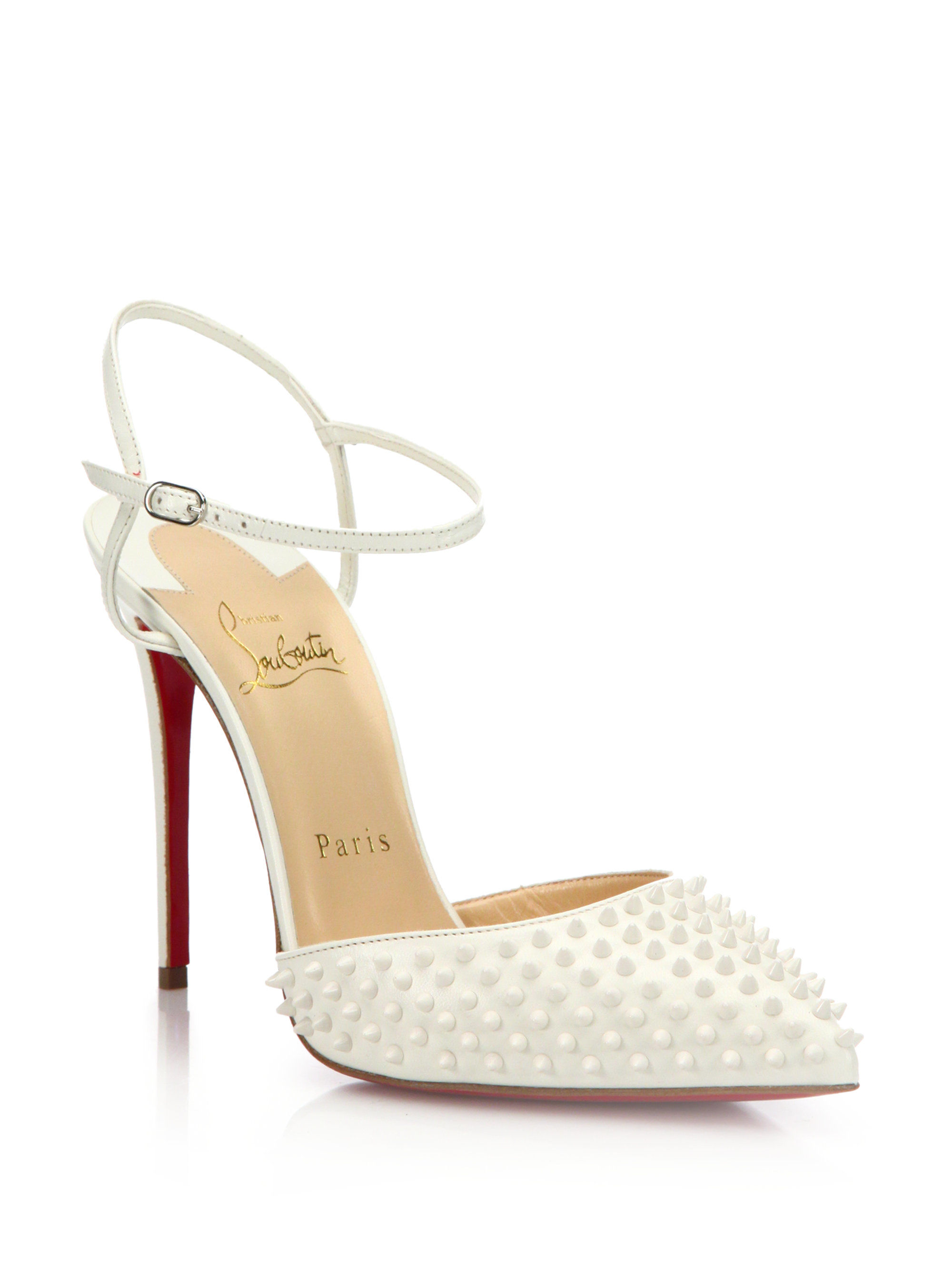 knock off mens shoes - Christian louboutin Baila Spiked Patent Leather Ankle-strap Pumps ...
