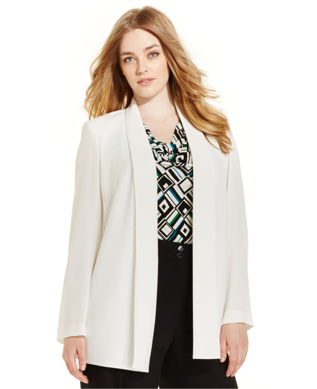 e29f1d30956b6 Lyst - Calvin Klein Plus Size Open-Front Jacket in Natural