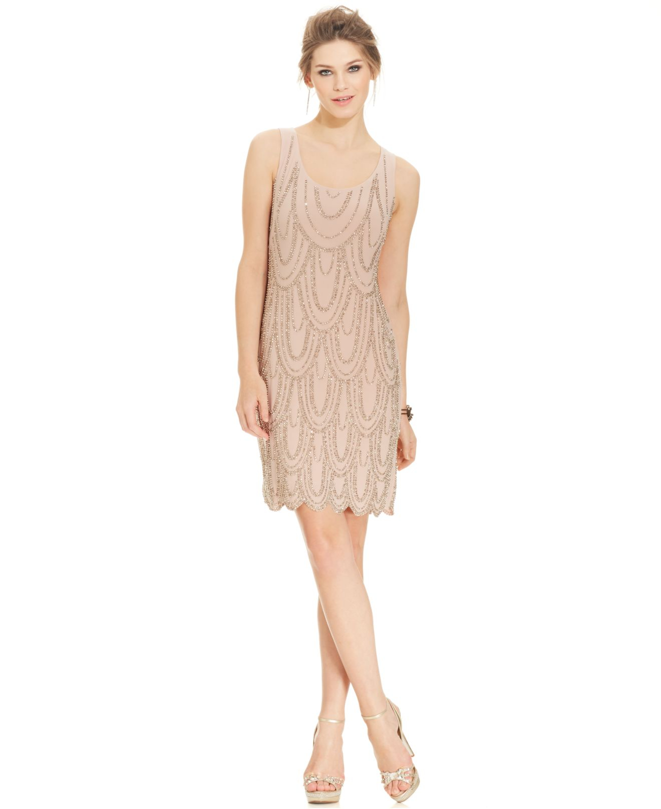 lyst  betsy  adam petite sleeveless beaded sheath in pink