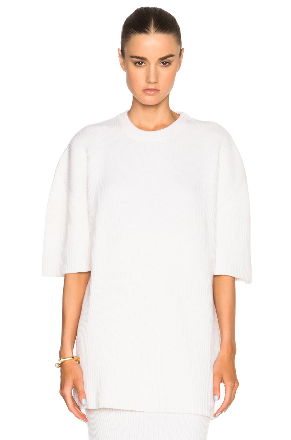 Ryan roche Short Sleeve Cashmere Sweater in White | Lyst