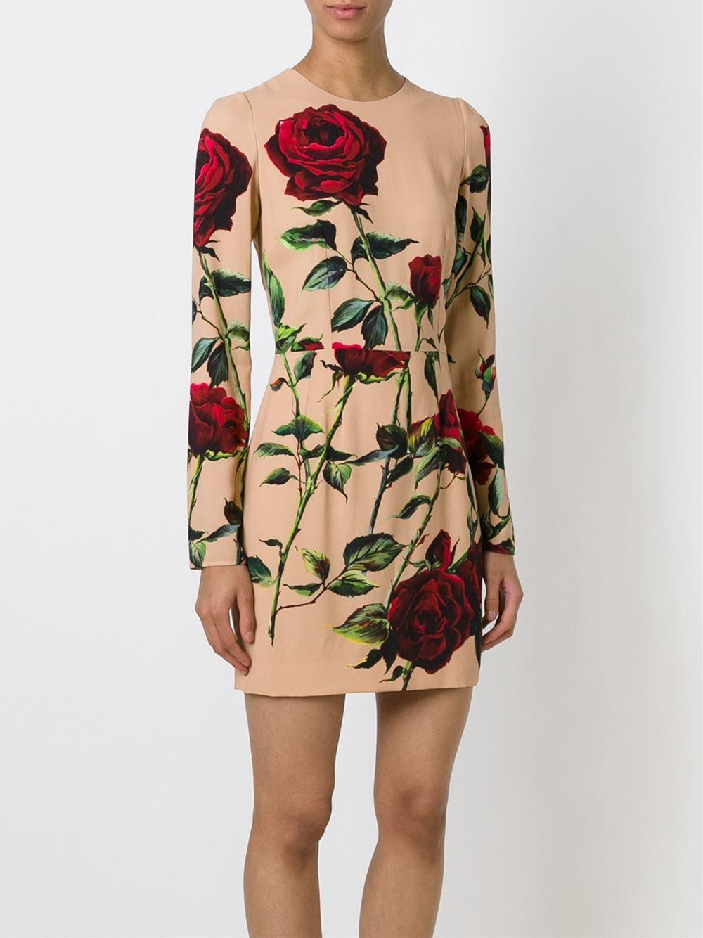 Lyst - Dolce & gabbana Rose Print Dress