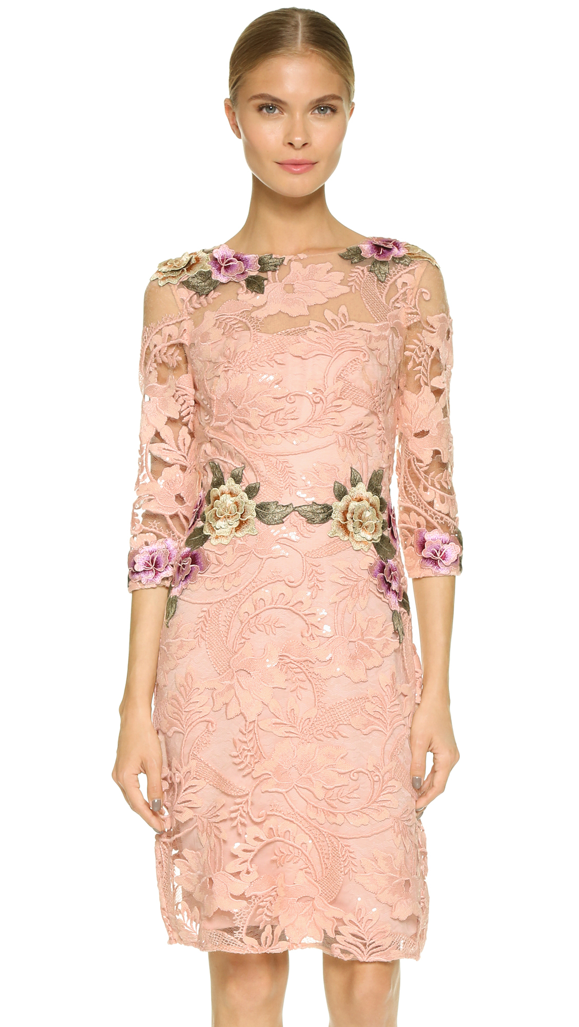 Coral pink cocktail dress