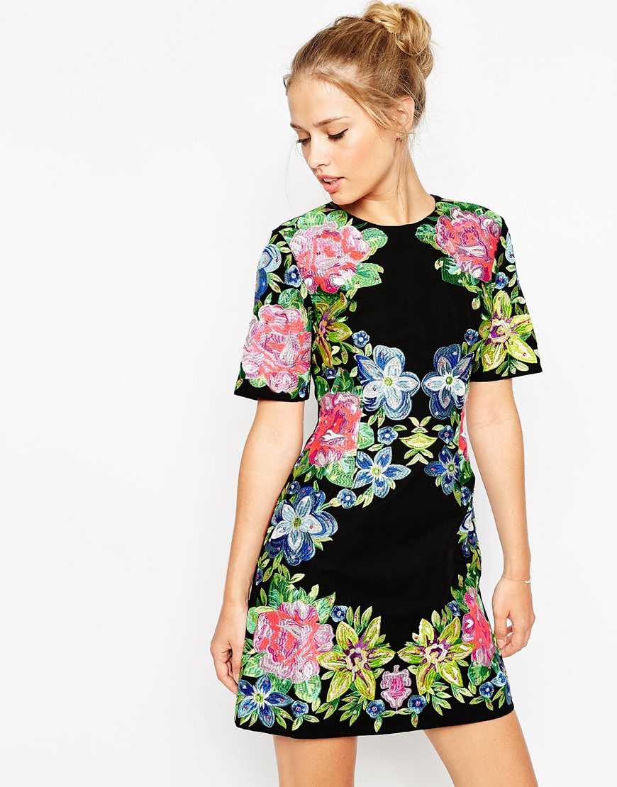 Asos Premium Embroidered Shift Dress in Black | Lyst