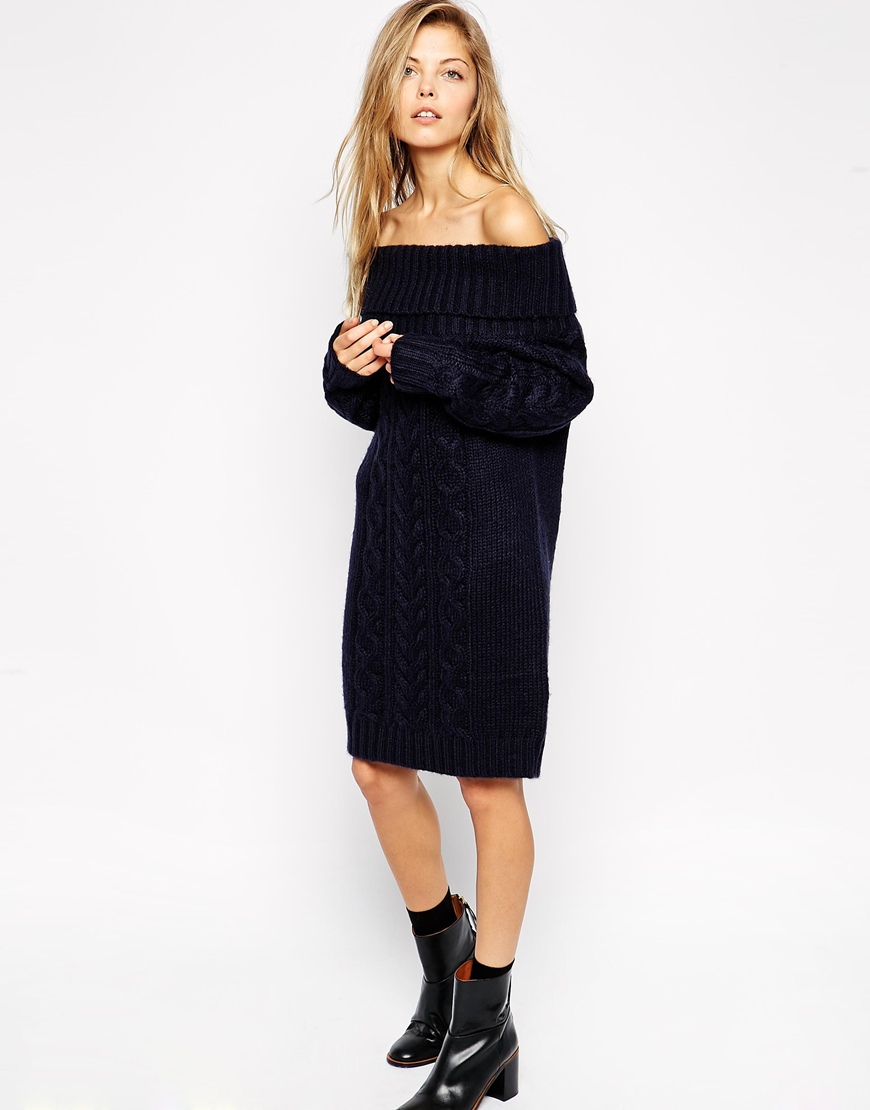 442bd885fe3 ASOS Cable Knit Dress With Off Shoulder in Black - Lyst