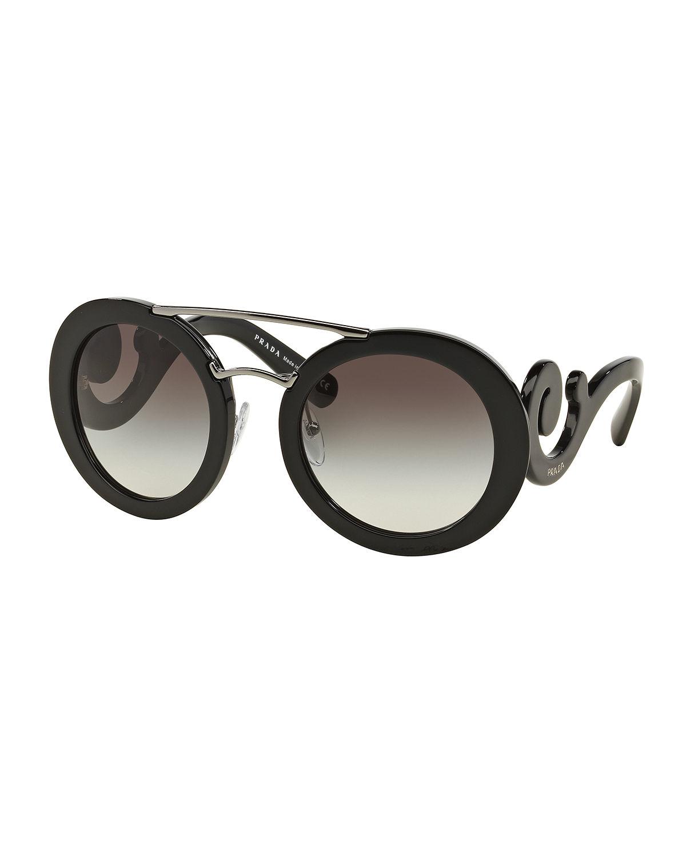 31311737e50 Lyst - Prada Baroque Round Brow-bar Sunglasses in Black
