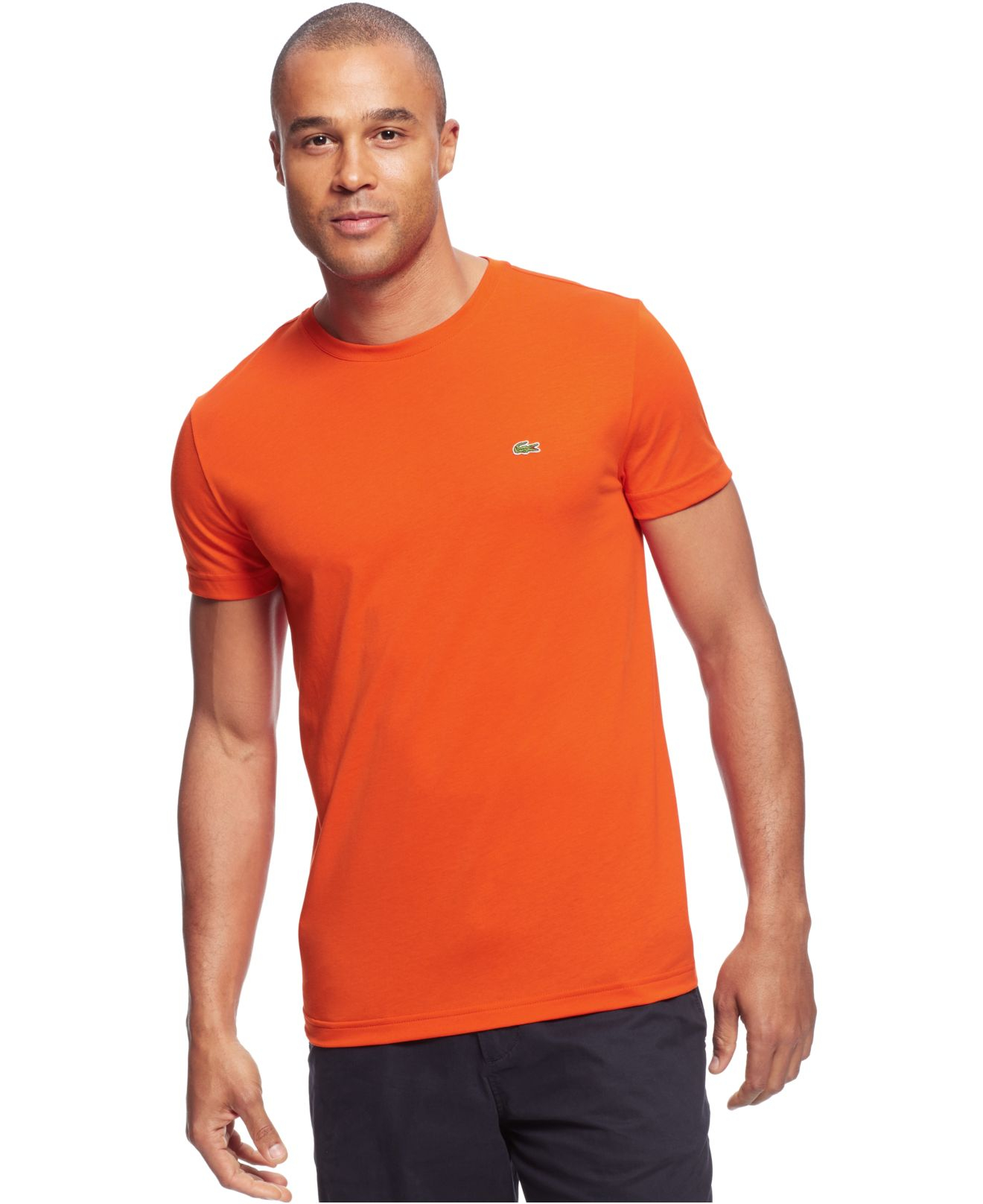 Lacoste big and tall solid crew neck jersey t shirt in for Lacoste big and tall polo shirts