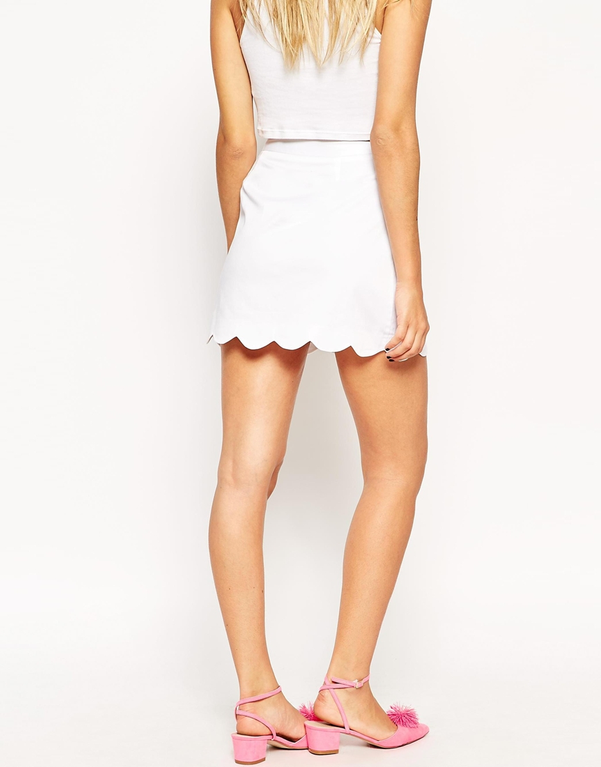 Asos A-line Mini Skirt With Scallop Hem in White | Lyst
