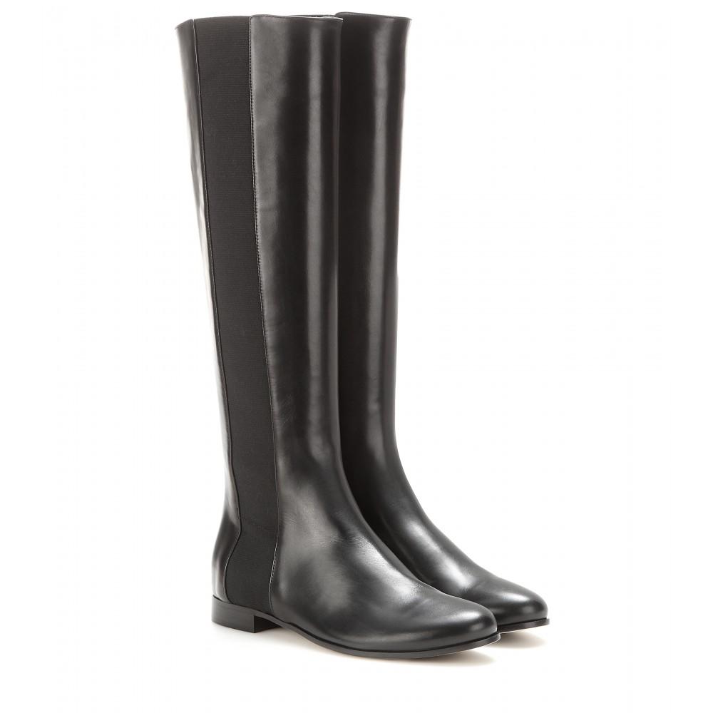 jimmy choo faith leather knee high boots in gray lyst