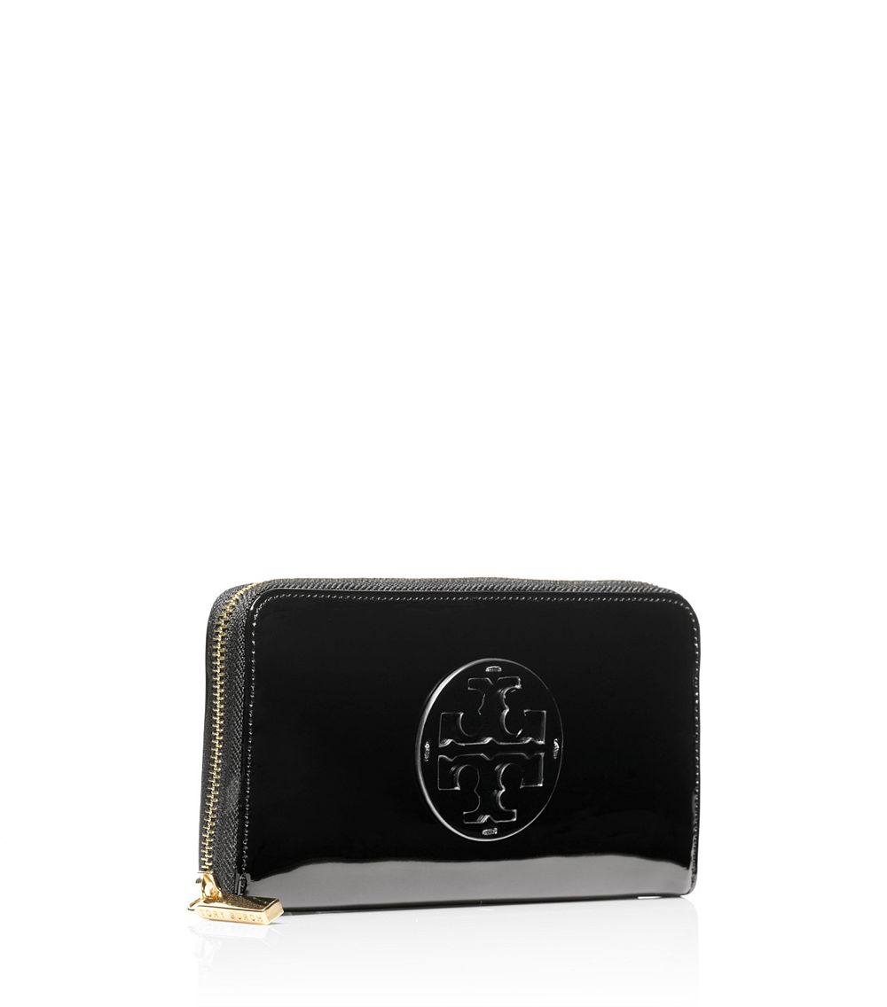 e70ca0f7e Lyst - Tory Burch Patent Leather Continental Wallet in Black