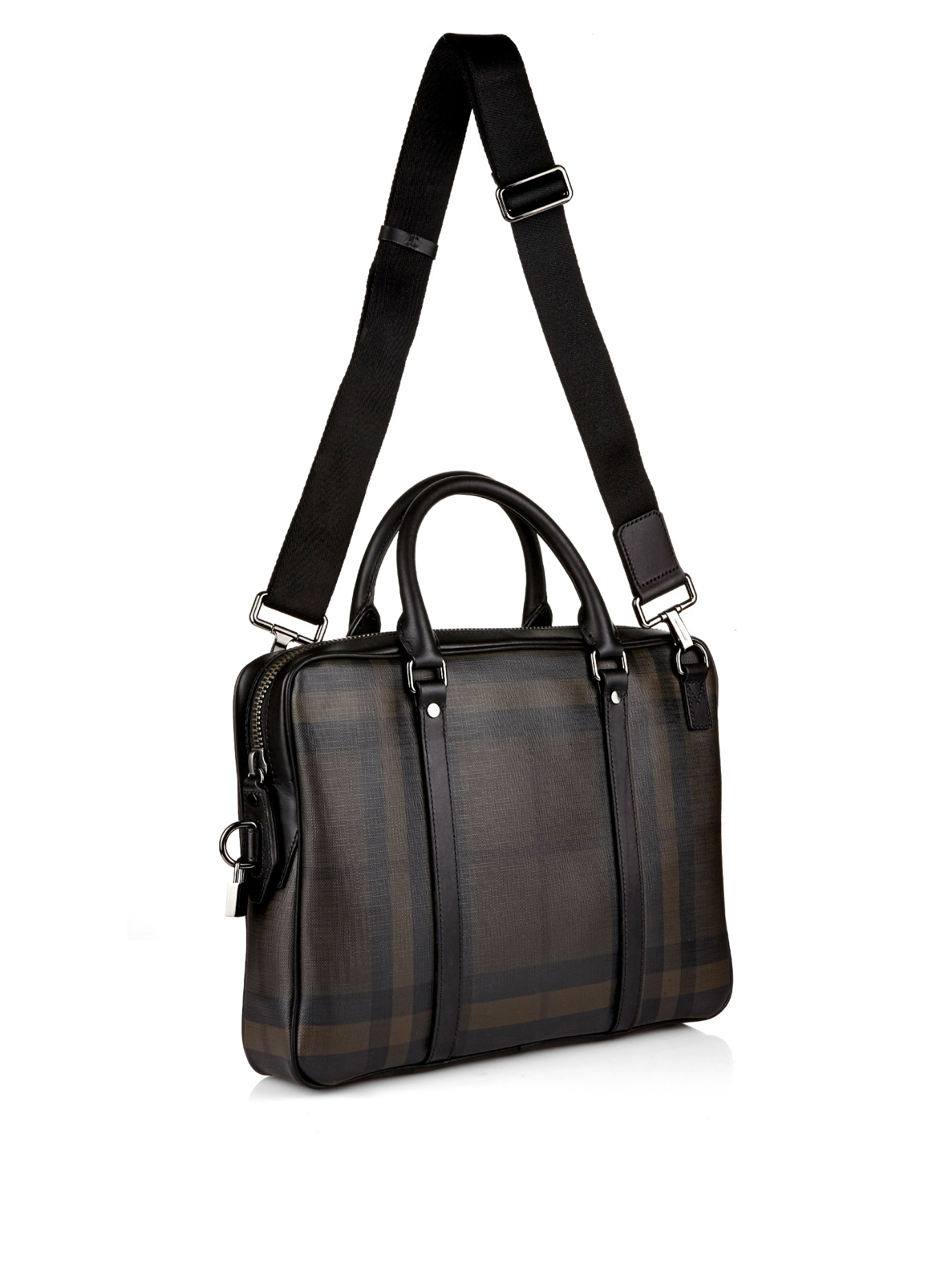 bd82f610f86 Burberry Brit Smoked Check Leather Laptop Bag in Black for Men - Lyst