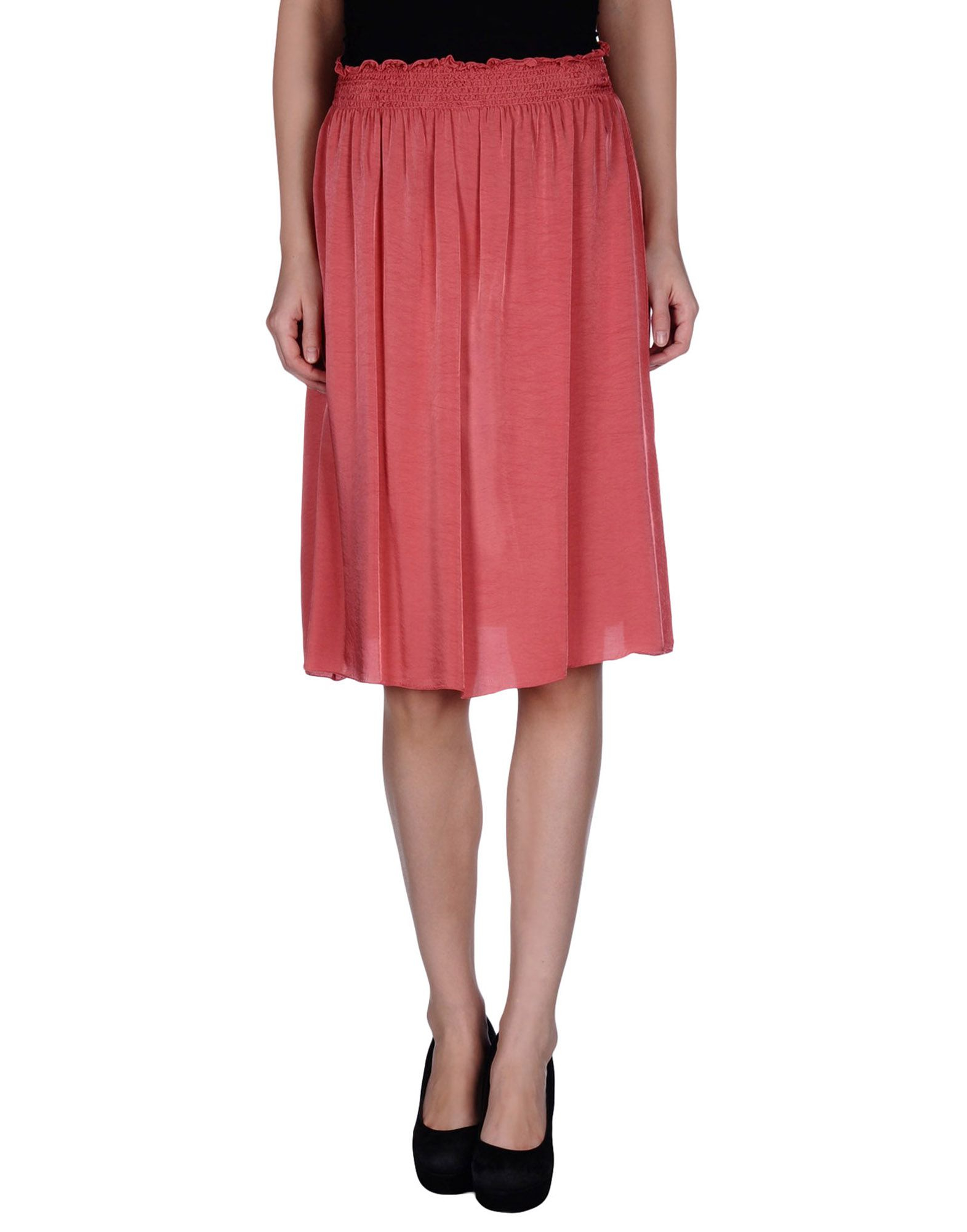 almeria knee length skirt in pink coral save 53 lyst