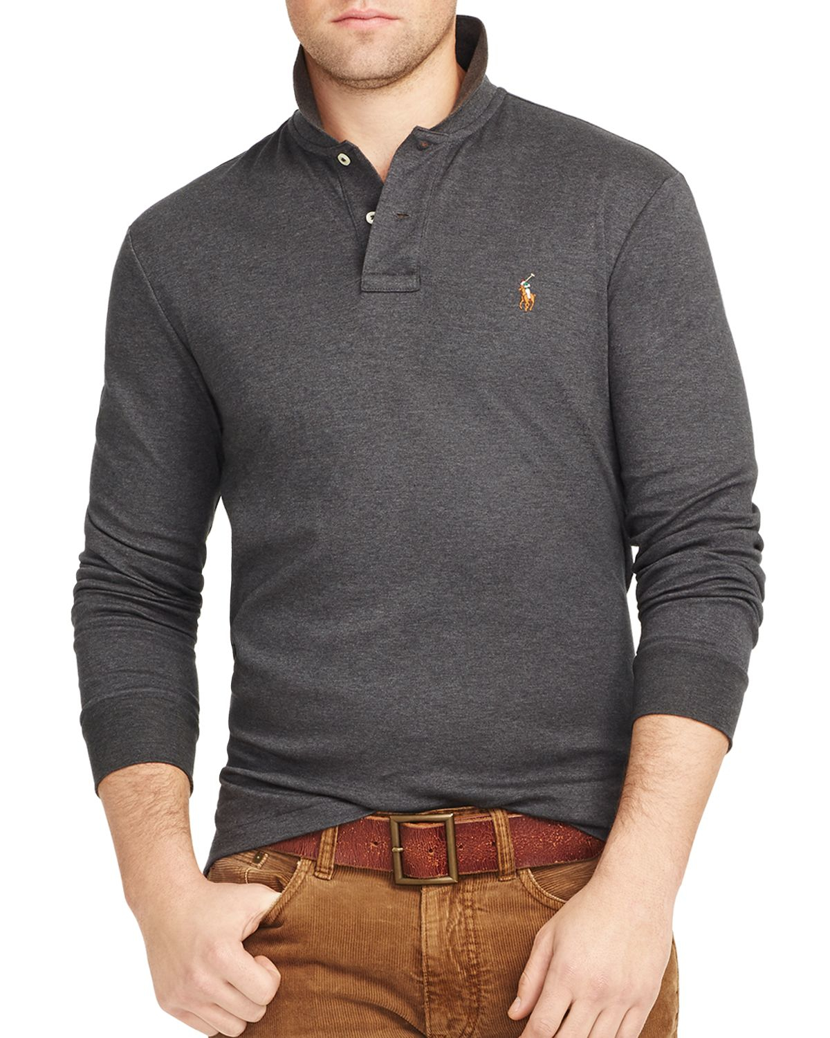 c9c2114b ... store lyst ralph lauren polo long sleeved pima soft touch polo shirt in  c8310 4c909
