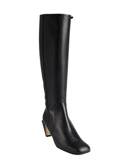 fendi black leather square toe notched heel boots in black
