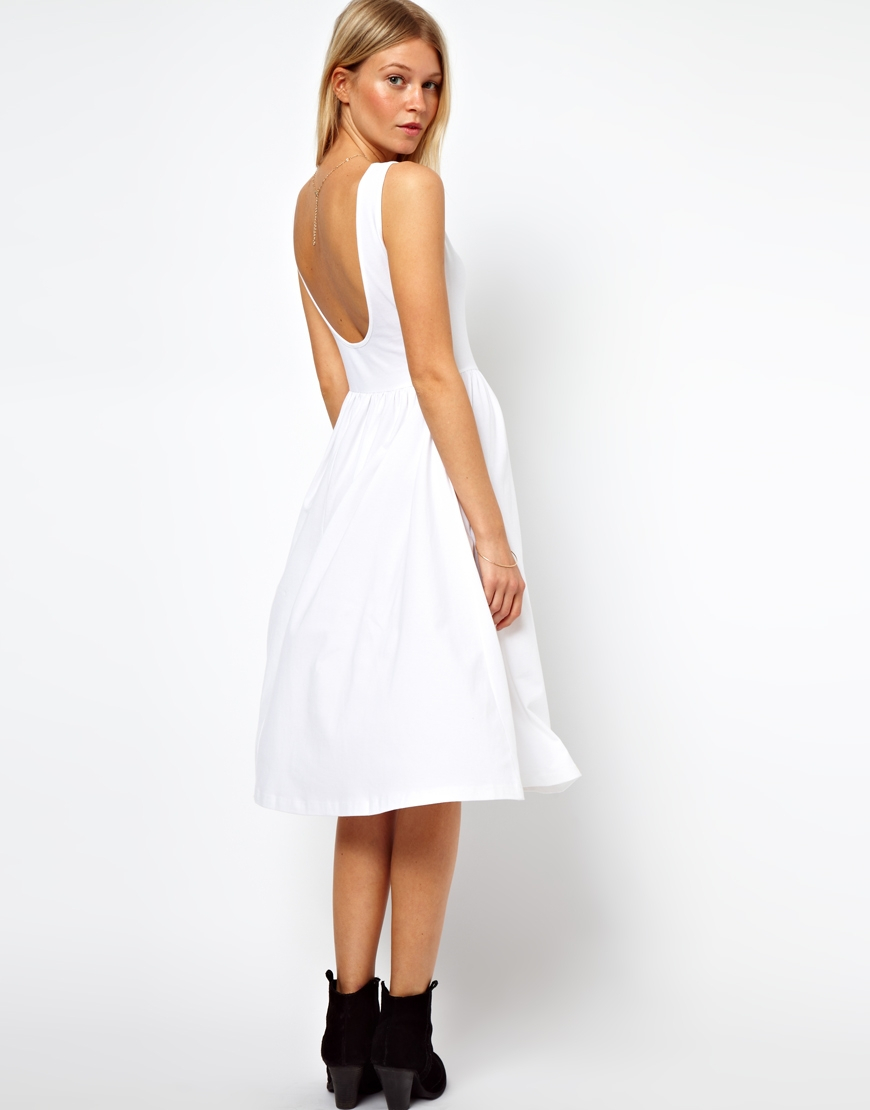 0d4629f75ae ASOS Midi Fit And Flare Dress With Scoop Back in White - Lyst