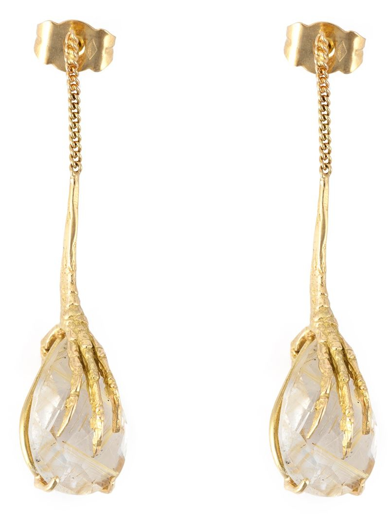 Wouters & Hendrix Crows Claw rutilated quartz earrings - Metallic AI8BCkaHm