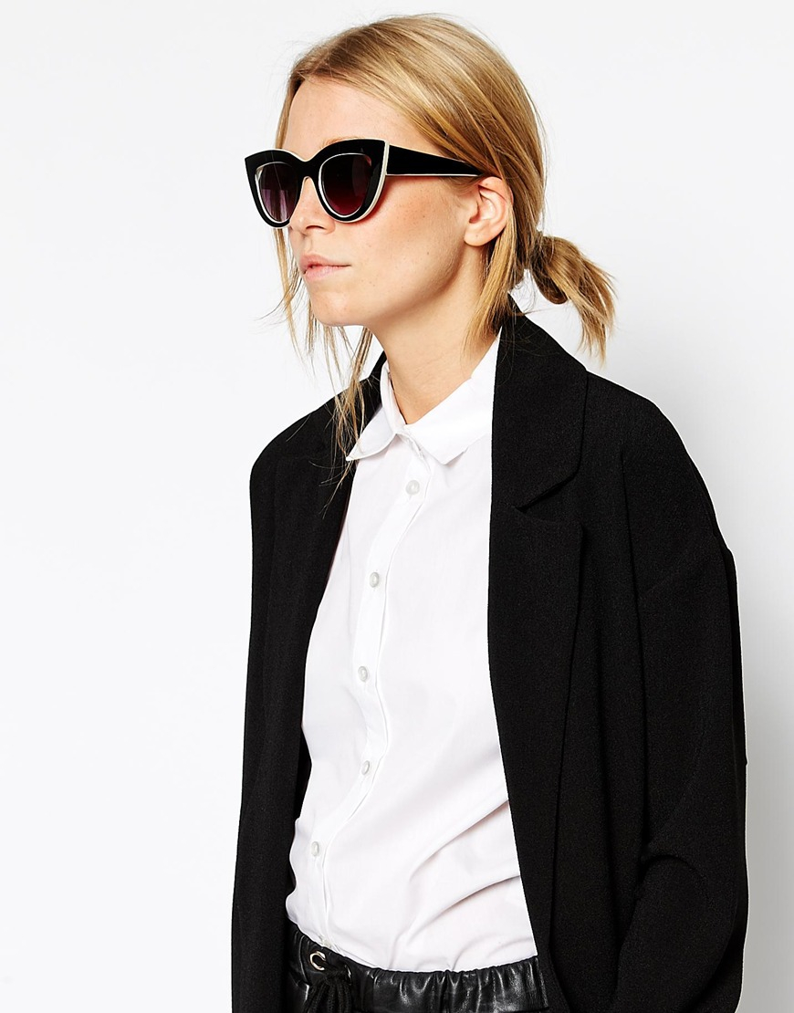 Flat Top Cat Eye Sunglasses  asos flat top cat eye sunglasses with cut away lens in natural lyst