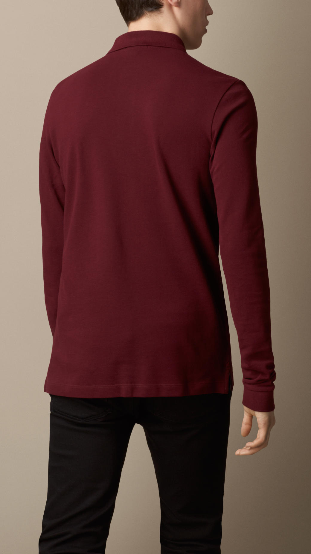 Lyst burberry long sleeve polo shirt in purple for men for Long sleeve purple polo shirt