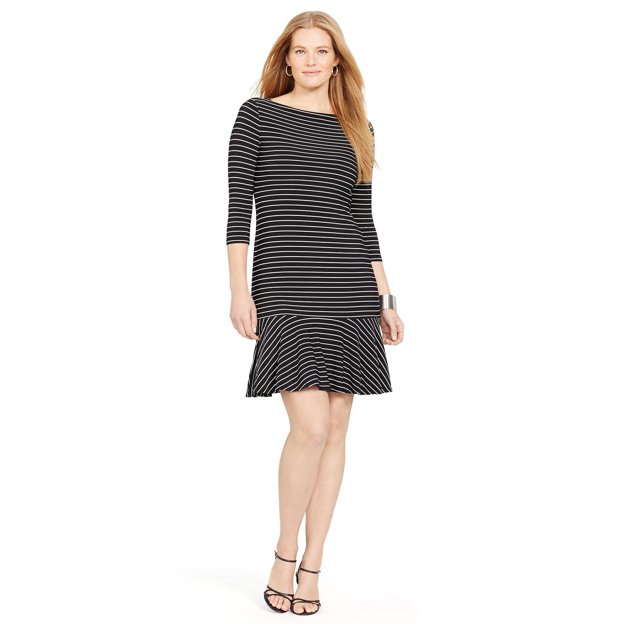 Lyst Ralph Lauren Striped Drop Waist Dress In Black