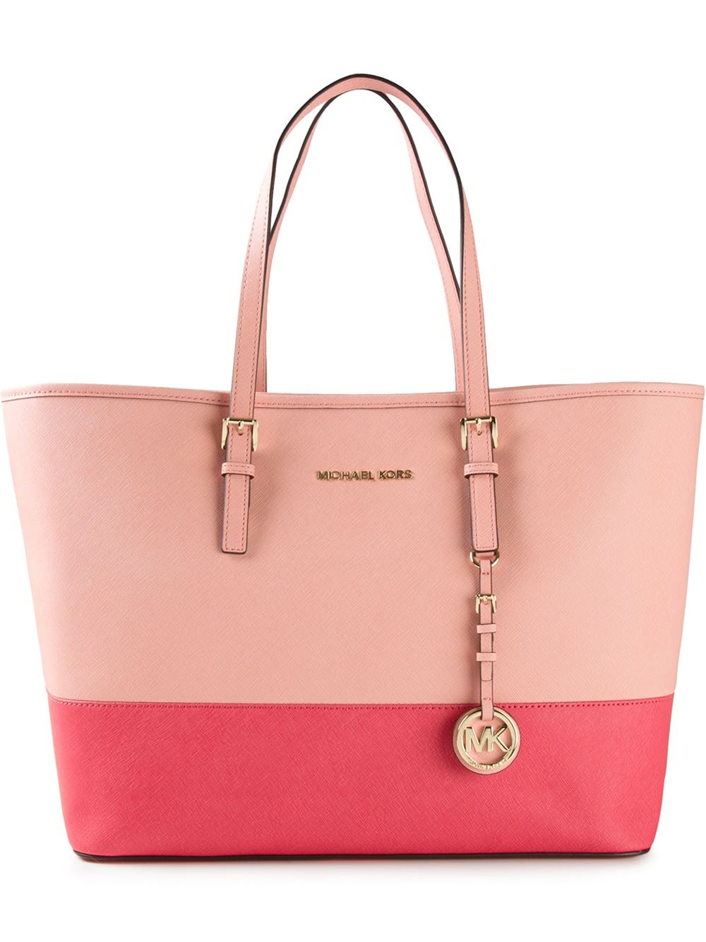 michael michael kors jet set travel color blocked tote in pink pink purple lyst. Black Bedroom Furniture Sets. Home Design Ideas