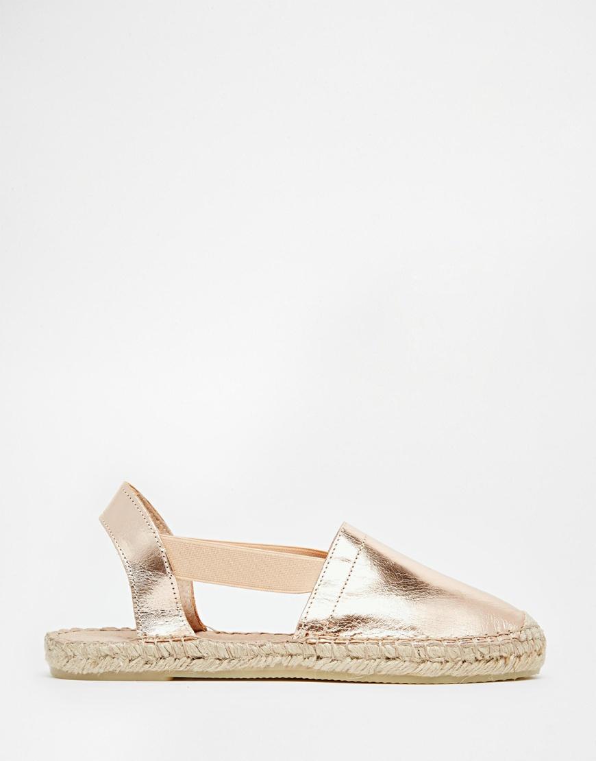 Selected Evita Metallic Rose Gold Leather Espadrille Flat